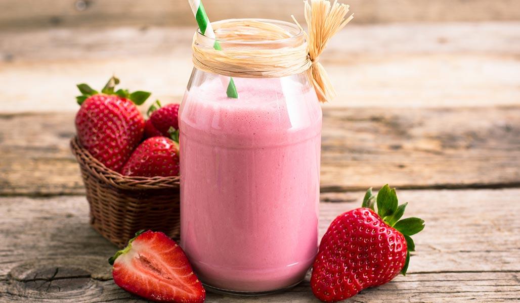 Erdbeer-Vanille-Quark-Shake