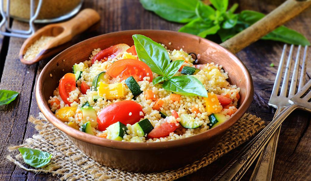 Bulgur mit Paprika-Tomaten-Gemüse